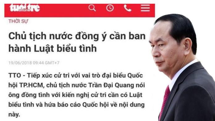 Đến lượt Vietnamnet bị phạt vì đưa tin chủ tịch nước ủng hộ luật biểu tình
