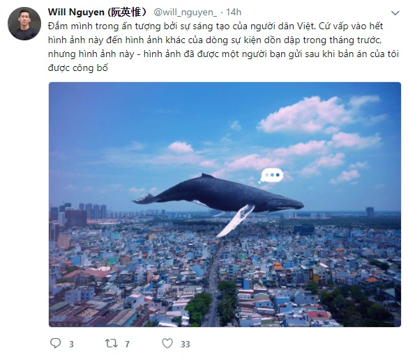 Will Nguyễn nhắn tin twitter trở lại bằng cả tiếng Anh và Việt