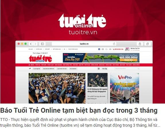 Tuổi Trẻ Online bị đình bản 3 tháng vì đưa tin chủ tịch nước ủng hộ luật biểu tình