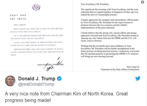 """Tổng thống Trump chia sẻ lá thư """"tử tế"""" của lãnh đạo Bắc Hàn Kim Jong Un"""