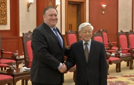 Ngoại Trưởng Hoa Kỳ Pompeo gặp Nguyễn Phú Trọng tại Hà Nội