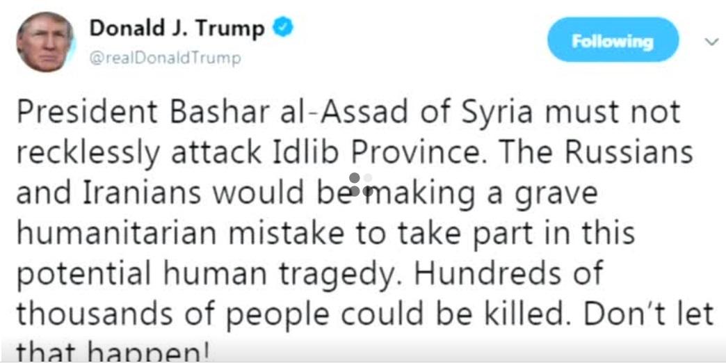 Tổng thống Trump cảnh cáo Syria-Nga-Iran không nên tấn công thành phố Idlib