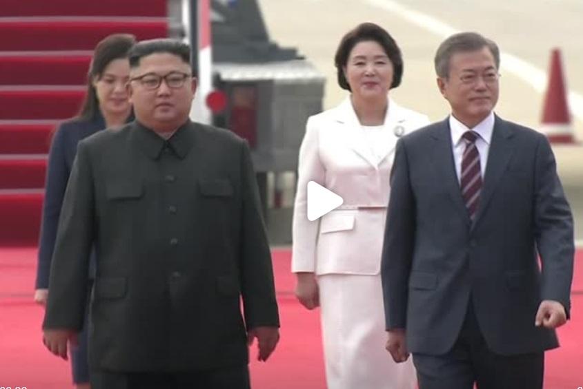 """Tổng thống Nam Hàn đến Bình Nhưỡng, dân Bắc Hàn hô khẩu hiệu """"thống nhất!"""""""