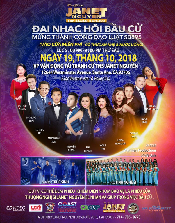 TNS Janet Nguyễn tổ chức đại nhạc hội bầu cử mừng dự luật SB 895 thành công