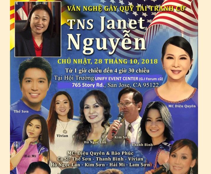 Bắc Cali tổ chức văn nghệ gây quỹ tái tranh cử cho TNS Janet Nguyễn