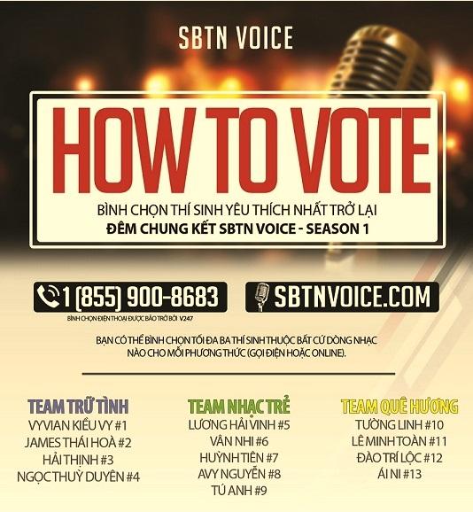 """Thông báo về việc bầu chọn cho """"thí sinh yêu thích"""" trở lại đêm chung kết SBTN VOICE"""