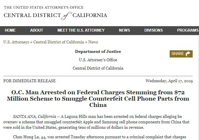 Một người gốc Việt bị bắt vì liên quan đến buôn lậu linh kiện điện thoại giả từ Trung Cộng trị giá 72 triệu USD