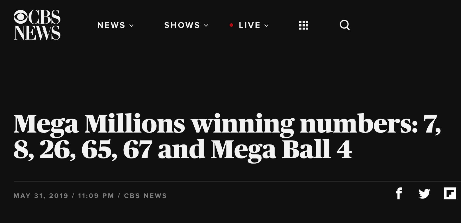 Dãy số trúng giải độc đắc Mega Millions trị giá 444 triệu Mỹ kim