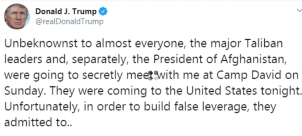 Tổng thống Trump hủy cuộc họp bí mật với lãnh đạo Taliban Afghanistan vì vụ tấn công ở Kabul