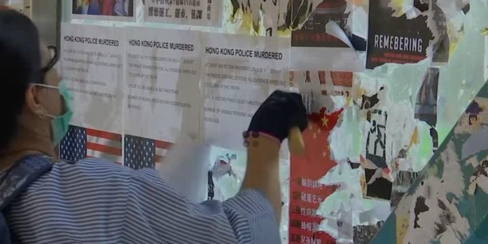 Các nhóm thân Bắc Kinh phá hủy bức tường Lenon Walls của người biểu tình  Hồng Kông