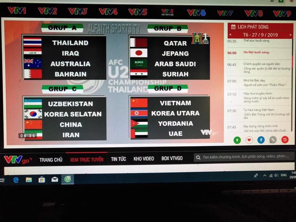 Bản tin thể thao trên đài truyền hình Hà Nội: cờ Trung Cộng đại diện cho đội tuyển U23 Việt Nam