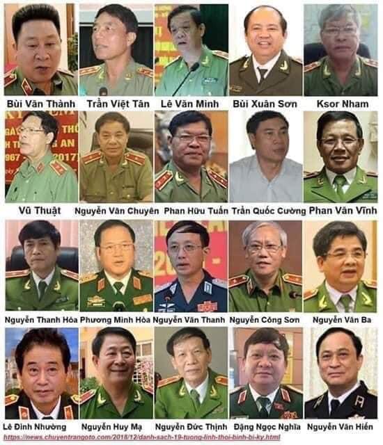 20 tướng quân đội, công an bị kỷ luật hoặc bỏ tù trong chiến dịch đốt lò của ông Trọng