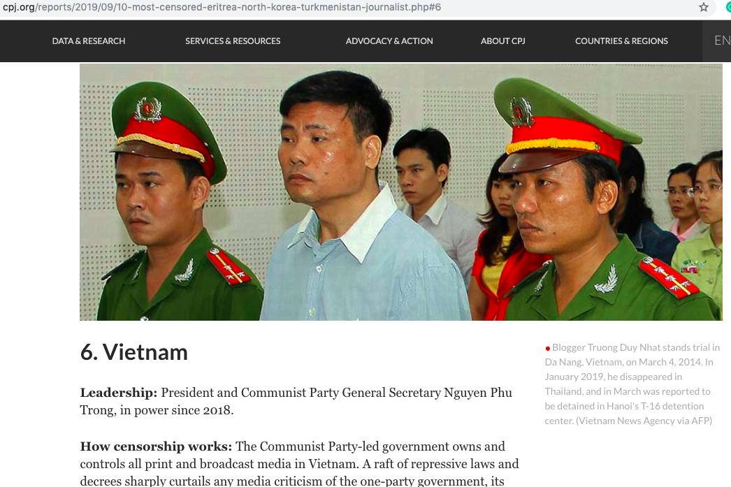 CPJ xếp Việt Nam vào nhóm 10 quốc gia kiểm duyệt báo chí khắt khe nhất thế giới