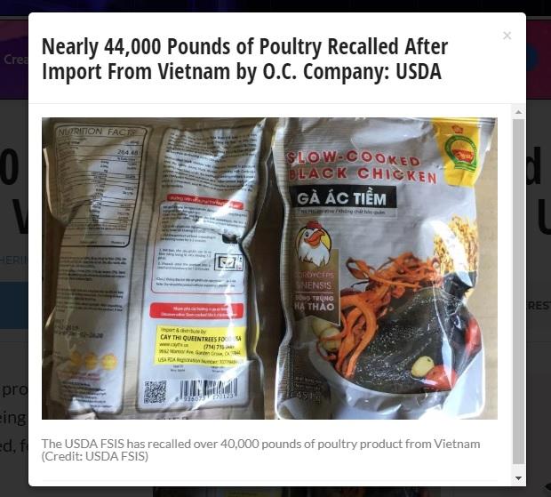 Hoa Kỳ thu hồi  20 tấn sản phẩm gà ác nhập cảng từ Việt Nam