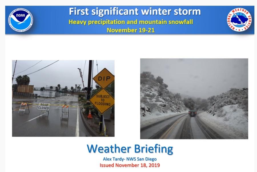 Nam california đón bão đầu mùa kể từ tháng 05/2019- dự báo mưa to 20/11/2019