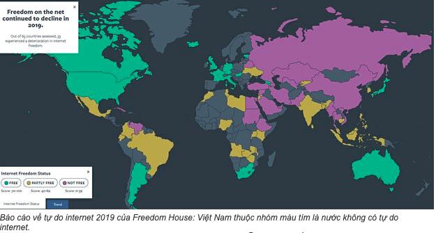 Freedom House: Việt Nam không có tự do internet
