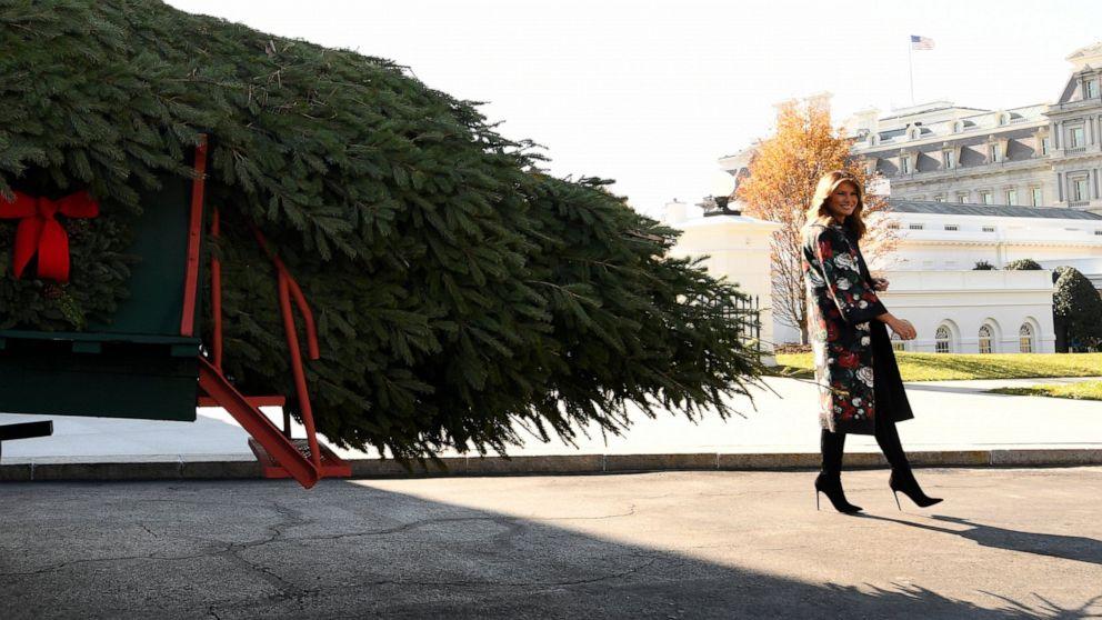 Đệ nhất phu nhận Melania Trump nhận cây giáng sinh chính thức của Tòa Bạch Ốc