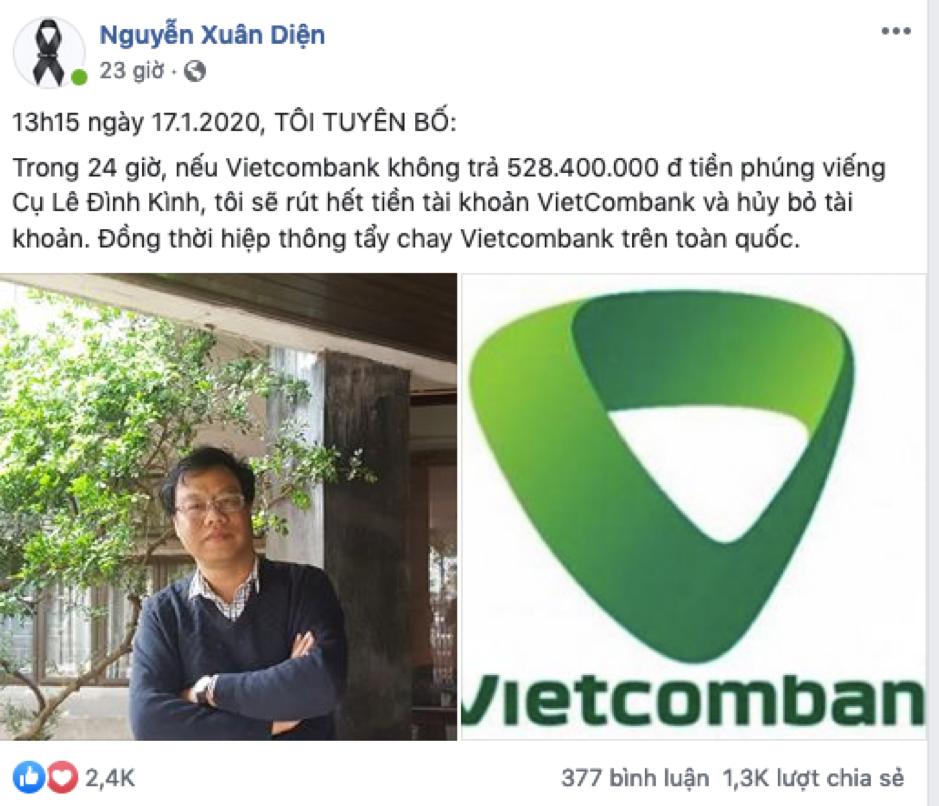 Giớibất đồng chính kiếntẩy chay Vietcombank sau khi tiền ủng hộ gia đình cụ Kình bị phong toả