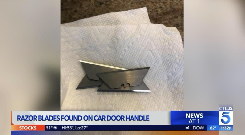 Hai lần phát hiệnlưỡi dao cạo được gắn trên tay nắm cửa xe ở Temecula, các nhà điều tra quyết định vào cuộc