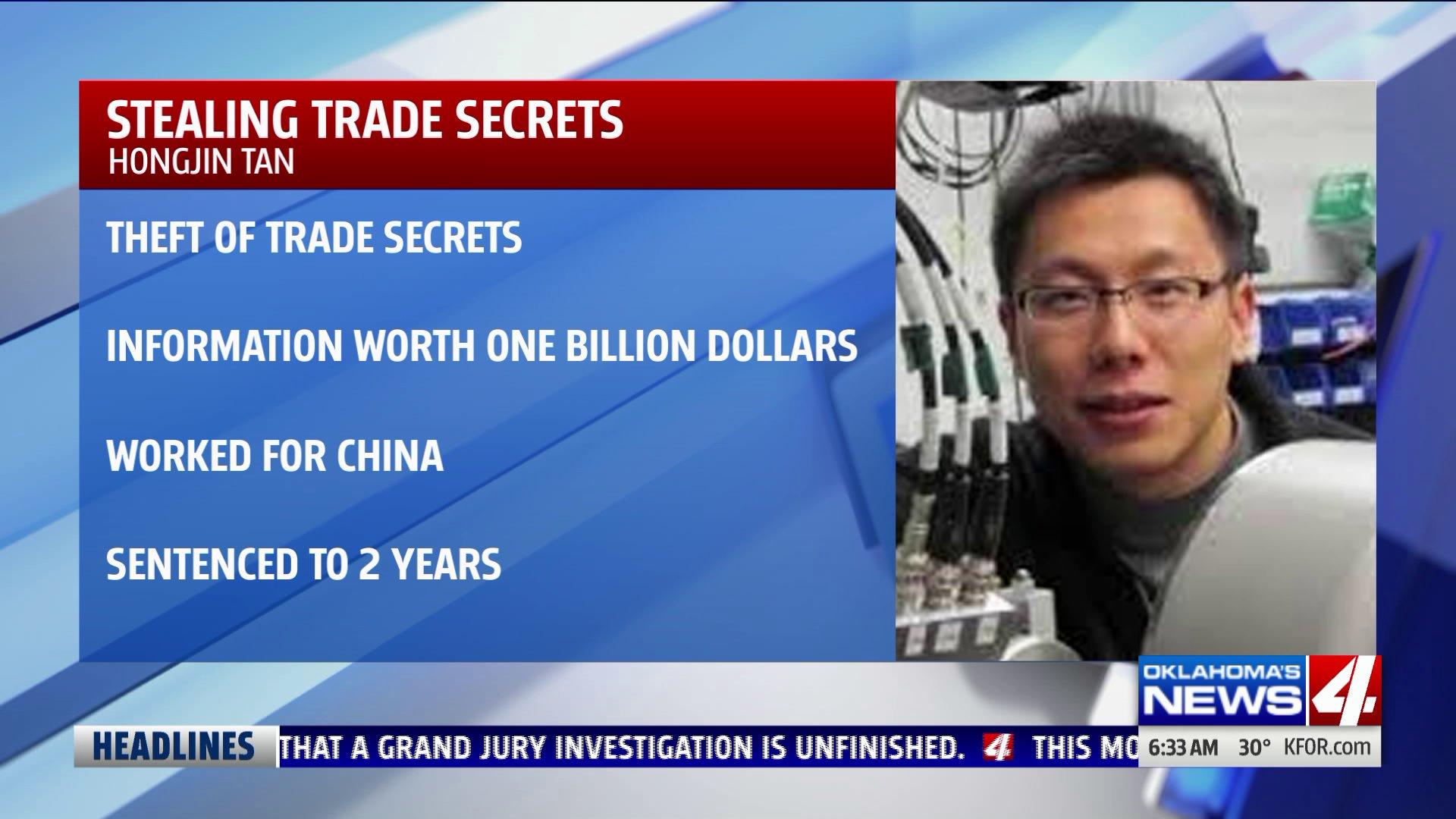 Nhà khoa học Trung Cộng Hongjin Tan bị phạt tù hai năm vì ăn cắp bí mật thương mại từ công ty năng lượng Hoa Kỳ