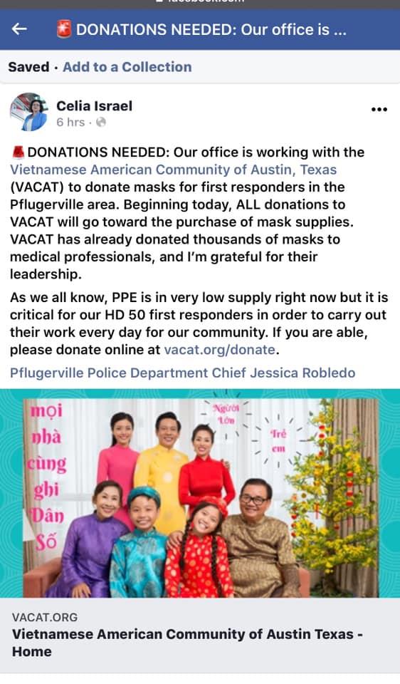 Cộng đồng người Mỹ gốc Việt ở Austin may khẩu trang vải, góp phần vào công cuộc chống dịch coronavirus