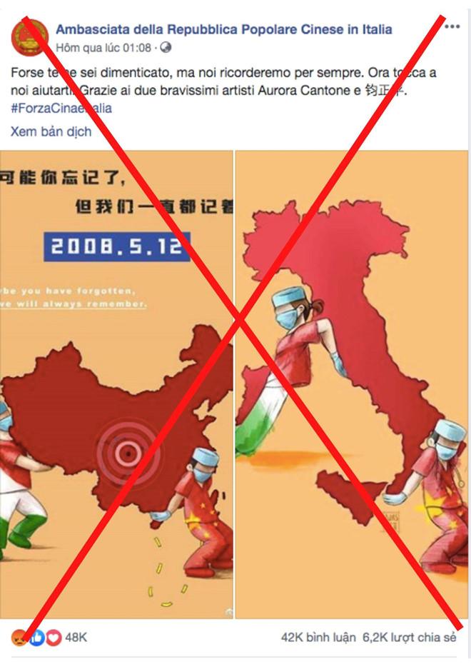 Lợi dụng dịch coronavirus 19 tại Ý, Đại sứ Trung Cộng đăng hình lưỡi bò trên fanpage