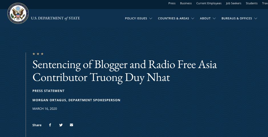 Washington kêu gọi Hà Nội phóng thích blogger Trương Duy Nhất