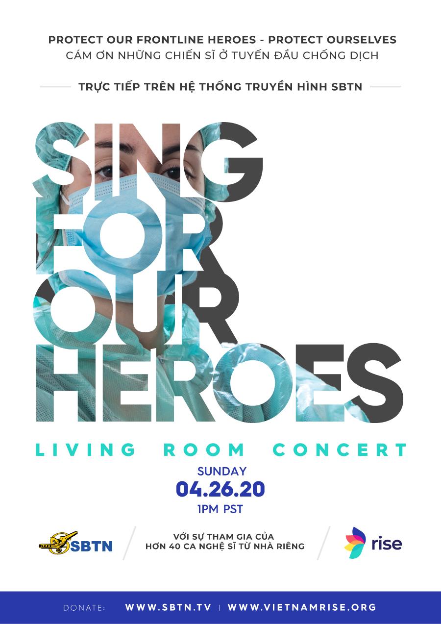 """Living Room Concert: """"Sing For Our Heroes"""" gây quỹ bảo vệ các chiến sĩ ở tuyến đầu."""
