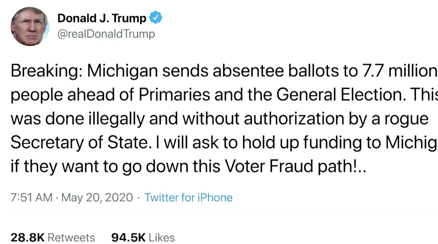 Tổng Thống Trump chỉ trích Michigan và Nevada vì mở rộng bỏ phiếu bằng thư