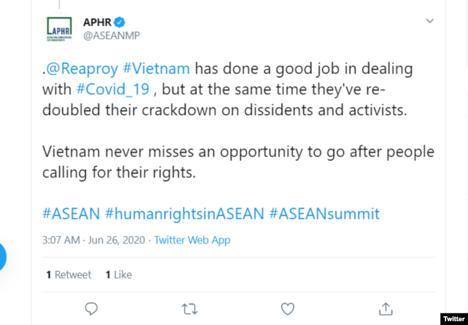 Hội Nghị Sỹ Nhân Quyền Asean chỉ trích CSVN đàn áp giới bất đồng chính kiến