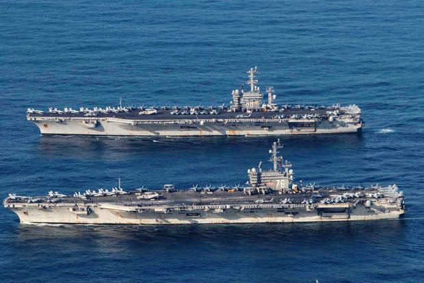 Hải Quân Hoa Kỳ điểu tàu chiến đến biển đông tập trận trong lúc Trung Cộng cũng đang tập trận