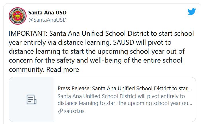 Học khu Santa Ana, Californiachuẩn bị công bố hướng dẫn học trực tuyến cho năm học sắp tới