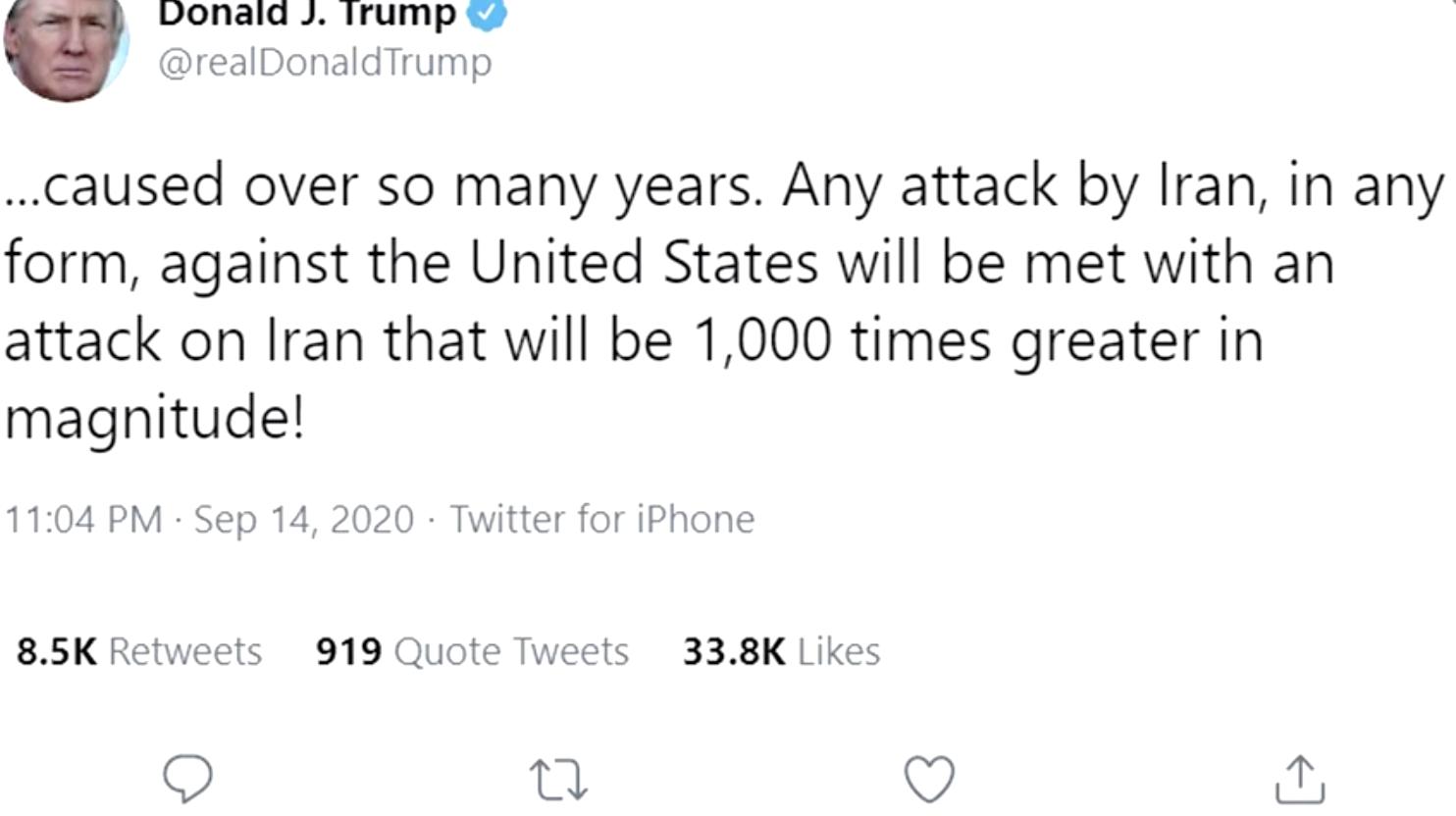 Tổng Thống Trump đe dọa cuộc tấn công trả đũa Iran sẽ lớn hơn gấp 1,000 lần