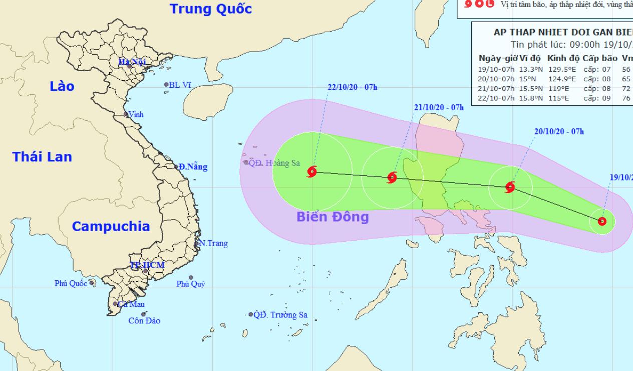 Mưa lớn vẫn tiếp diễn ở miền Trung, biển Đông lại xuất hiện áp thấp nhiệt đới có thể thành bão