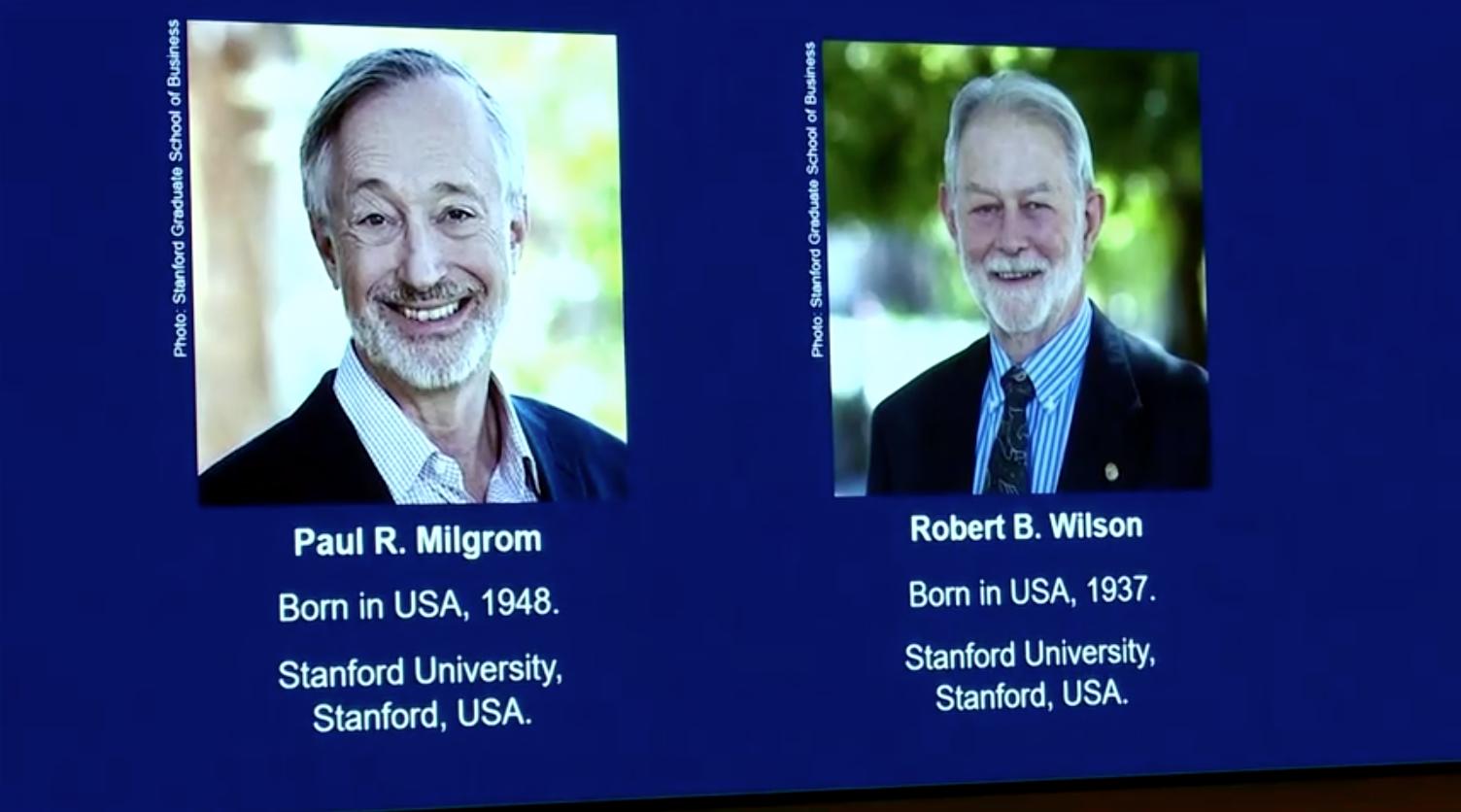 Giải Nobel Kinh Tế được trao cho các nhà khoa học Paul Milgrom và Robert Wilson vì lý thuyết đấu giá
