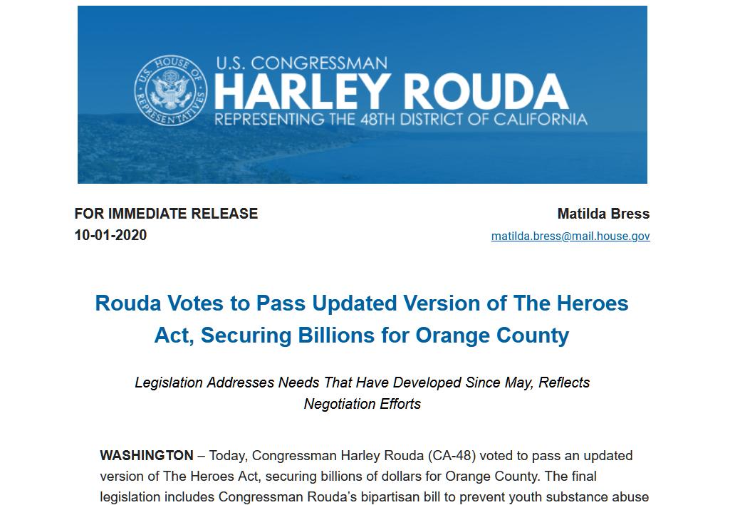 Dân biểu Harley Rouda bỏ phiếu thông qua phiên bản cập nhật của dự luật Heroes Act, bảo đảm hàng tỷ Mỹ kim cho quận Cam