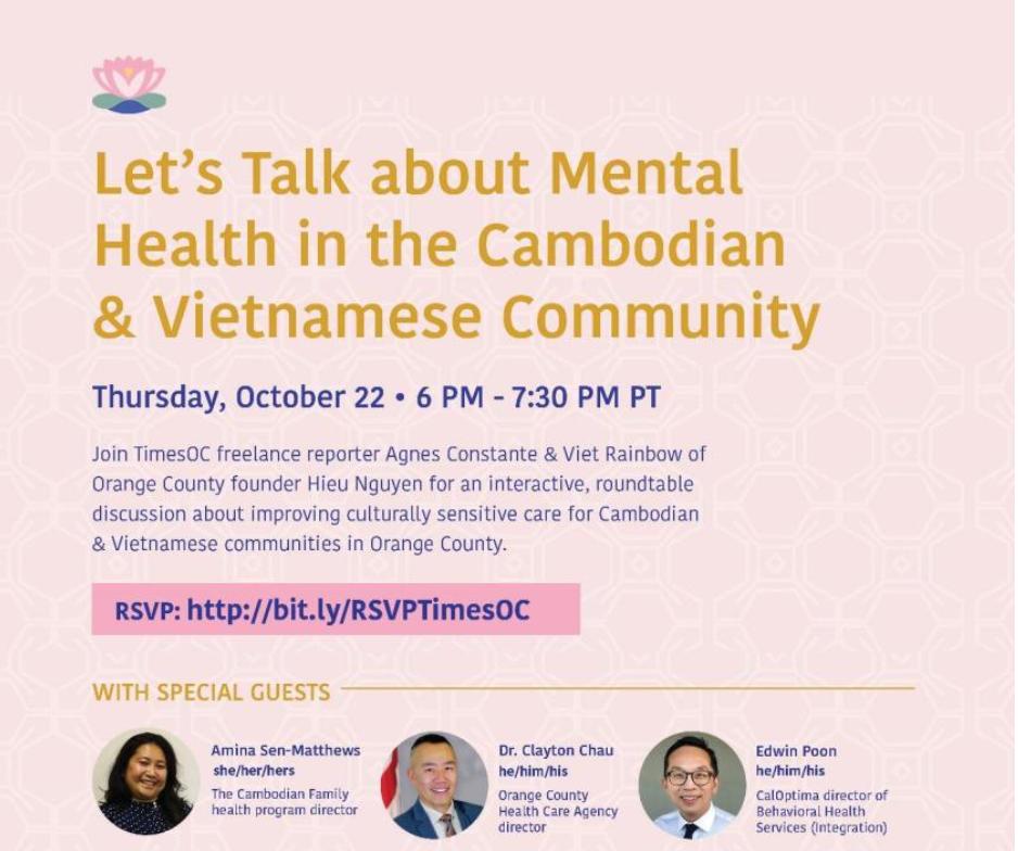 TimesOC sẽ đồng tổ chức diễn đàn trực tuyến về sức khỏe tâm thần cho các cộng đồng người Cambodia và Việt Nam