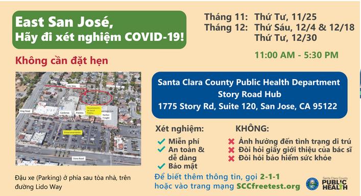Hạt Santa Clara thông báo địa điểm xét nghiệm COVID-19