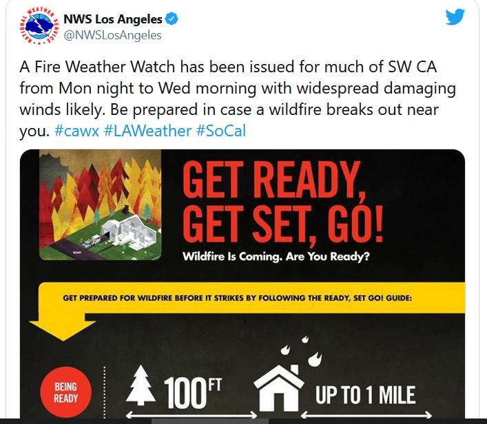 Gió Santa Ana quay trở lại miền Nam California – khuyến cáo gió lớn và hỏa hoạn