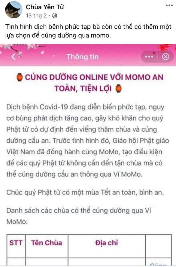 Giáo hội Phật giáo quốc doanh Việt Nam thử nghiệm cúng dường qua ví tiền điện tử