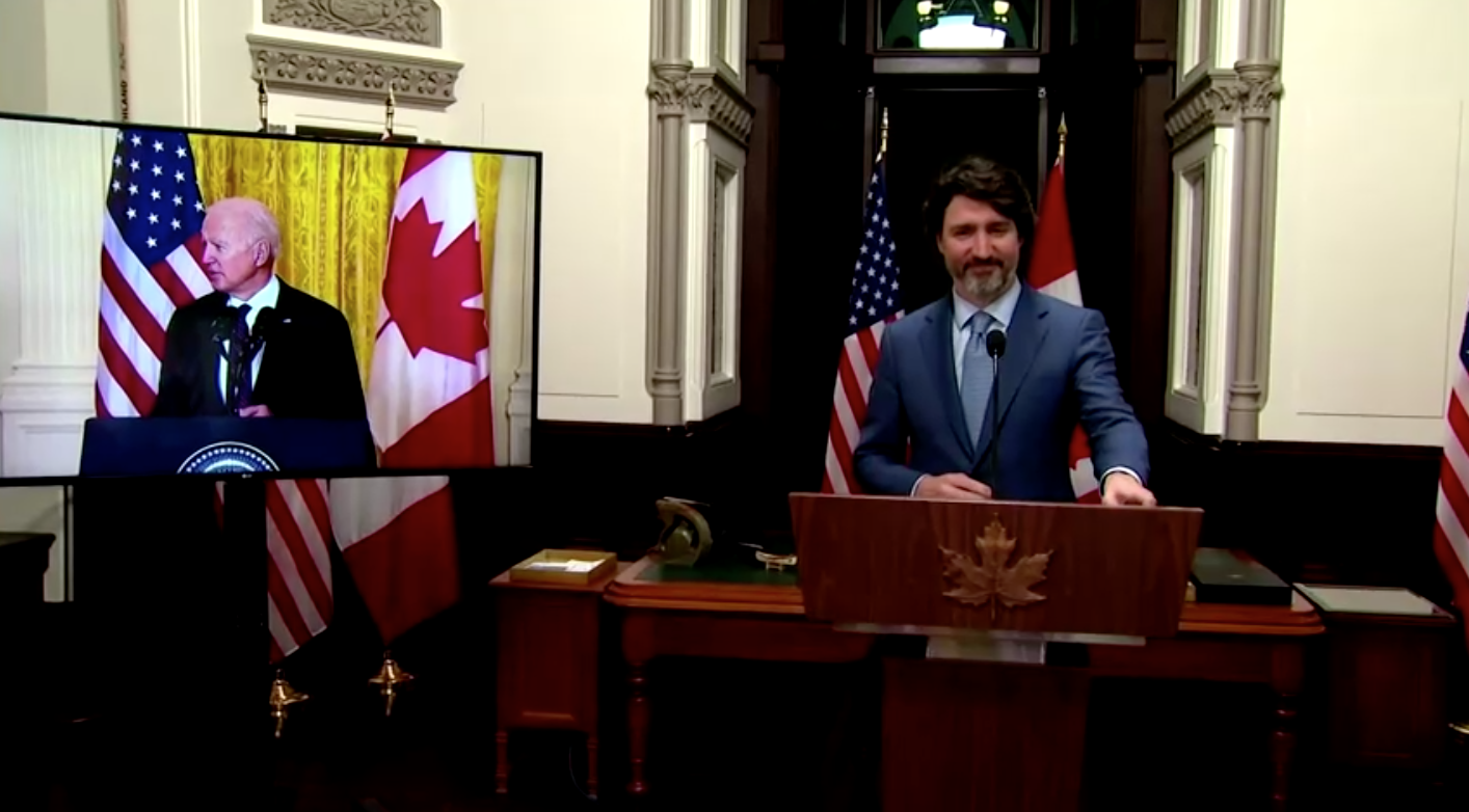 """Tổng Thống Hoa Kỳ và Thủ Tướng Canada cam kết chống lại Trung Cộng và tình trạng biến đổi khí hậu trong """"cuộc họp"""" đầu tiên"""