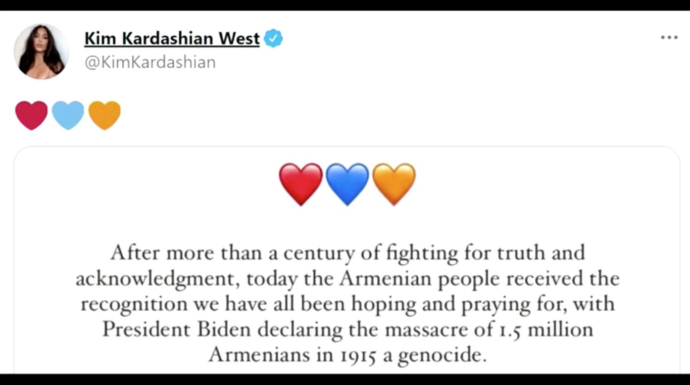 Kim Kardashian West cảm ơn Tổng Thống Biden vì công nhận cuộc thảm sát người Armenia