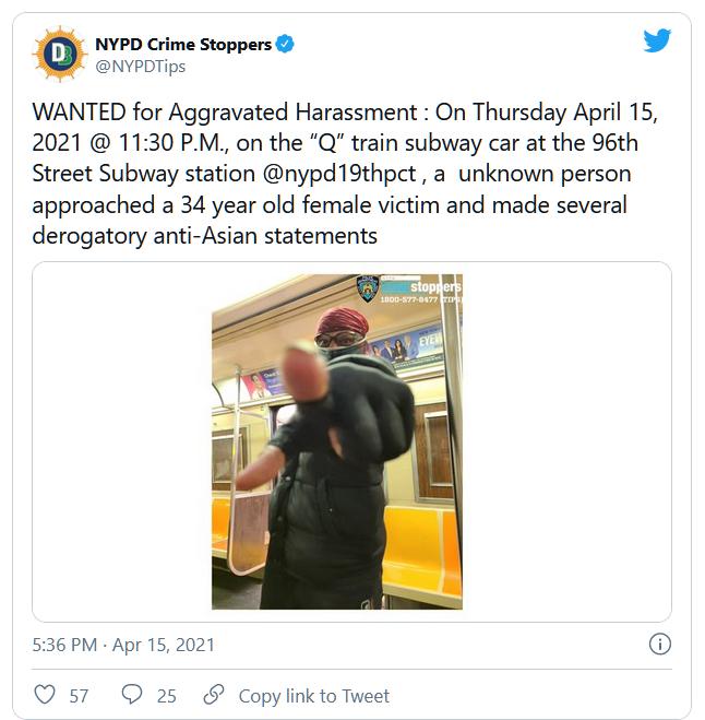 Một người đàn ông vô gia cư đối đầu với một nghi can kỳ thị người châu Á trên tàu điện ngầm tại New York