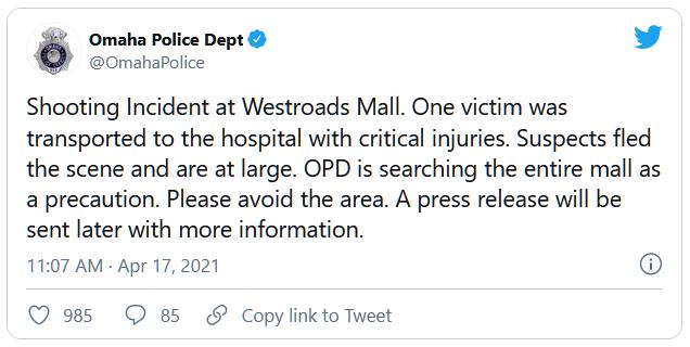Một vụ nổ súng tại trung tâm mua sắm ở Nebraska khiến một người thiệt mạng, một người khác bị thương