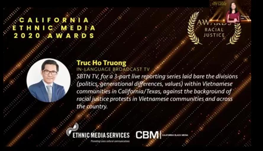 "SBTN đồng thắng giải nhất ""Racial Justice"" củatổ chức Ethnic Media Services"