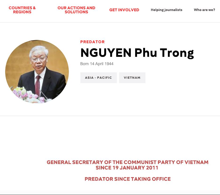 """Ký giả Không Biên Giới lại đưa Tổng bí thư Nguyễn Phú Trọng vào danh sách """"kẻ thù của tự do báo chí"""""""